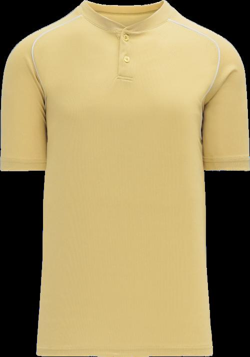Shoulder Stripe Two Button Baseball Jersey - Vegas Gold