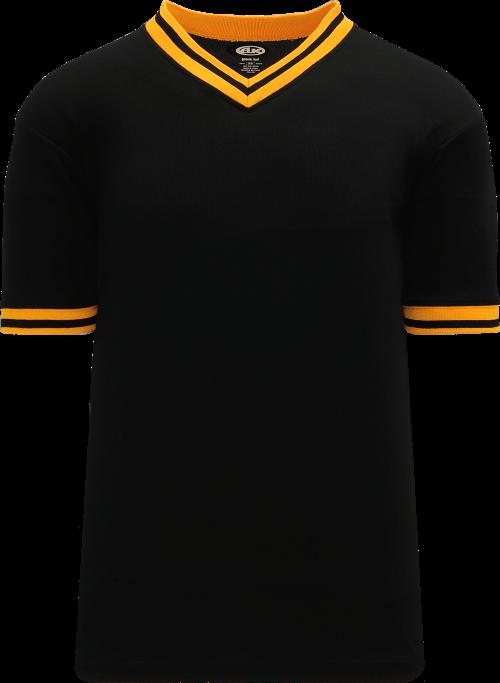 Trimmed Pullover Baseball Jersey - Black/Gold