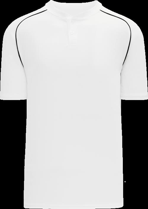 Shoulder Stripe Two Button Baseball Jersey - White