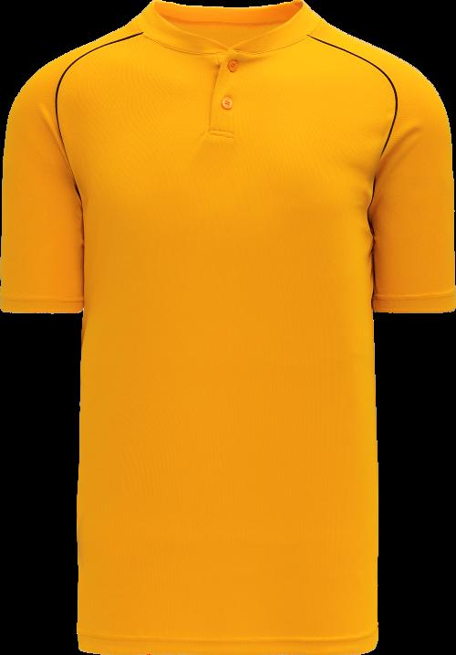 Shoulder Stripe Two Button Baseball Jersey - Gold