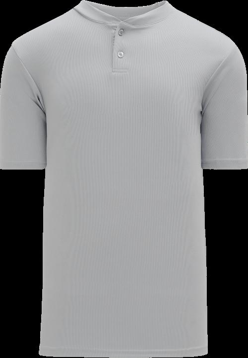 Basic Two Button Baseball Jersey - Gray