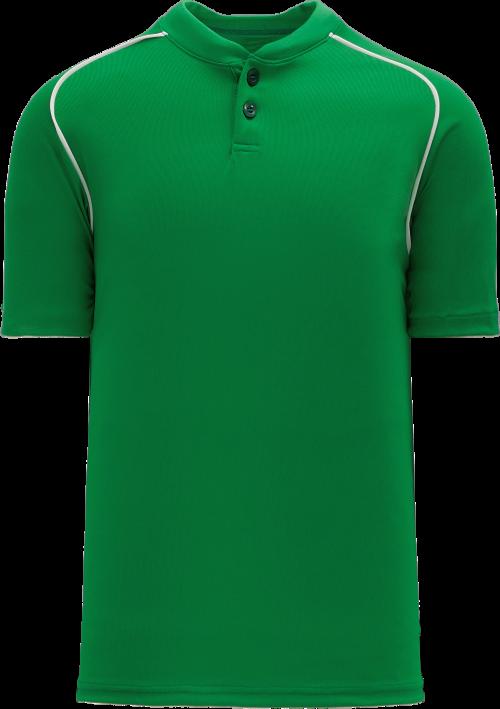 Shoulder Stripe Two Button Baseball Jersey - Kelly