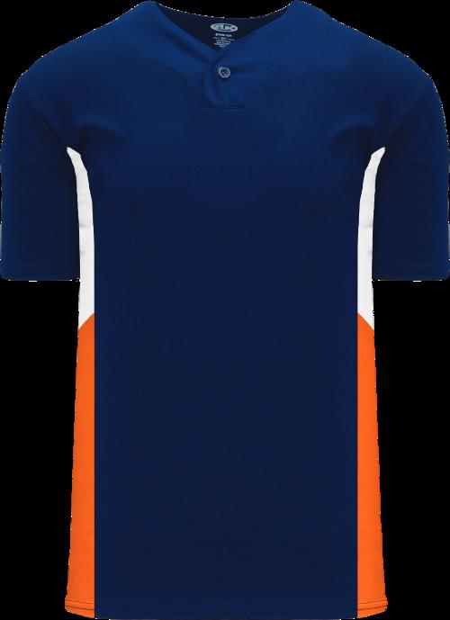 Triple One Button Baseball Jersey - Navy/White/Orange