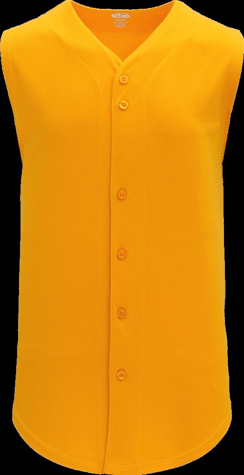 Full Button Vest Baseball Jersey - Gold