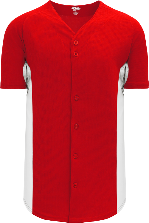 Full Button Color Blocked Baseball Jersey - Red/White