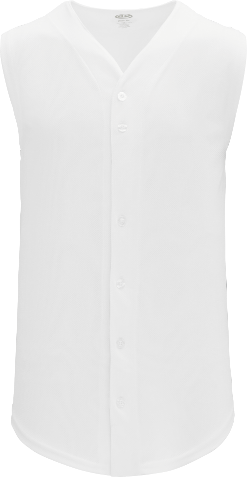 Full Button Vest Baseball Jersey - White