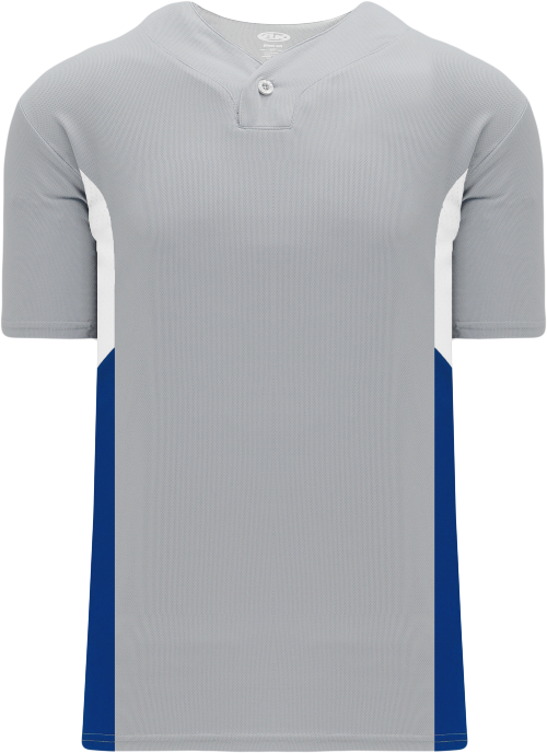 Triple One Button Baseball Jersey - Gray/White/Royal