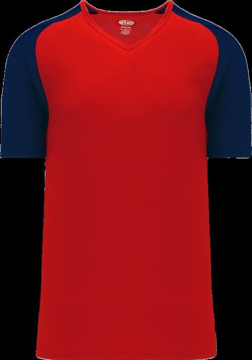 Raglan Pullover Baseball Jersey - Red/Navy