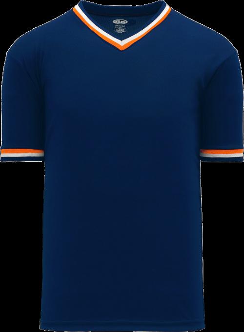 Trimmed Pullover Baseball Jersey - Navy/Orange/White
