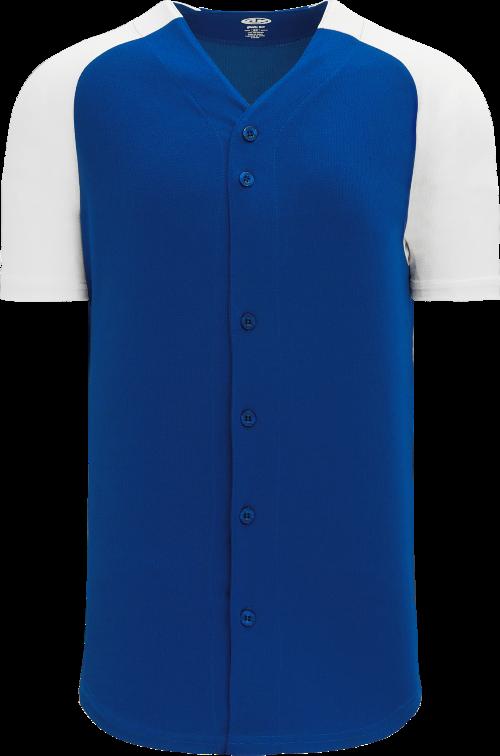 Full Button Raglan Sleeve Baseball Jersey - Royal/White