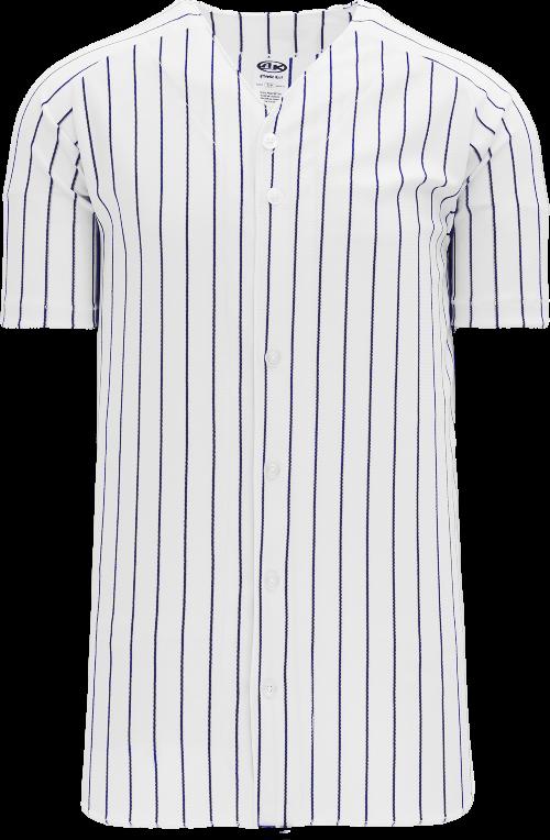 Full Button Pinstripe Baseball Jersey - White/Navy