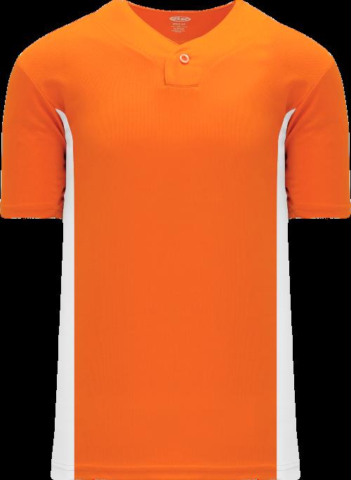 Home Run One Button Baseball Jersey - Orange/White