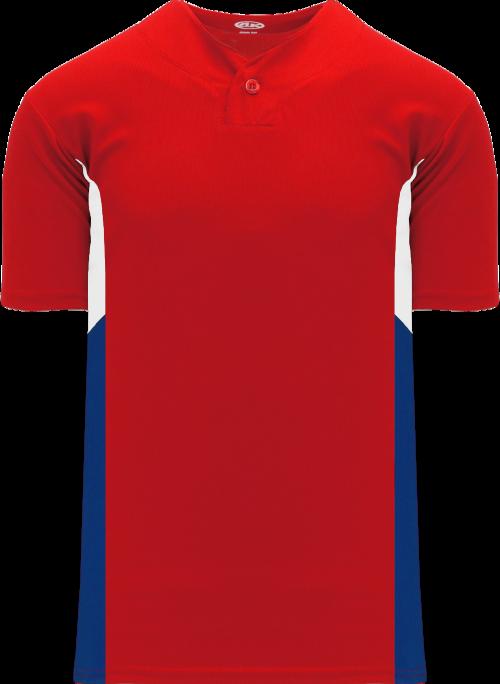 Triple One Button Baseball Jersey - Red/White/Royal