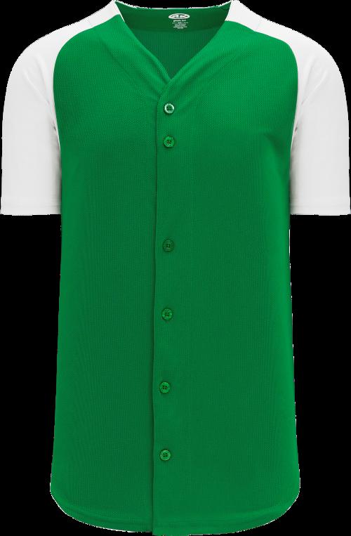 Full Button Raglan Sleeve Baseball Jersey - Kelly/White