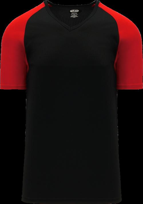 Raglan Pullover Baseball Jersey - Black/Red