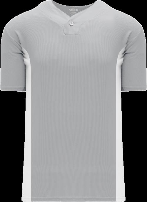 Home Run One Button Baseball Jersey - Gray/White