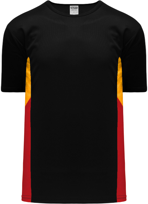 Triple Pullover Baseball Jersey - Black/Gold/Red