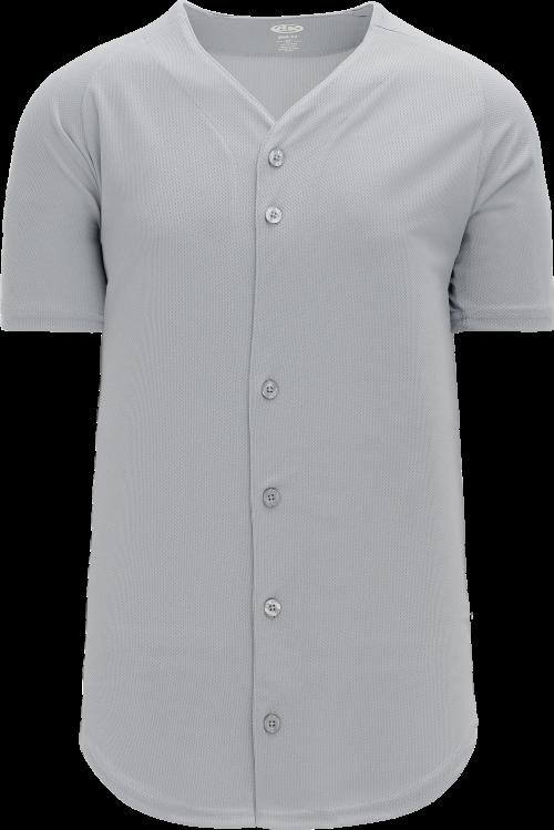 Full Button Proflex Baseball Jersey - Gray