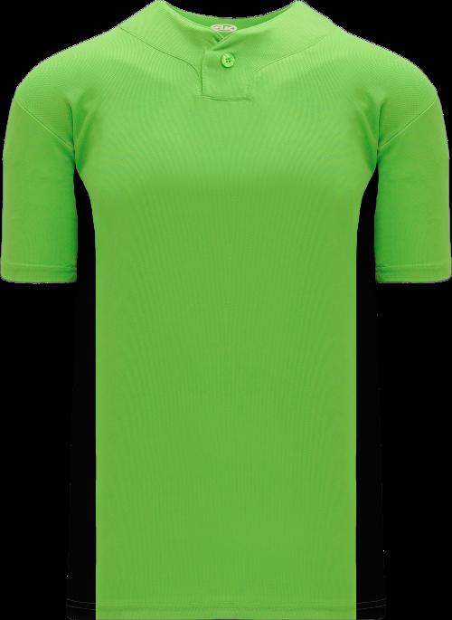 Home Run One Button Baseball Jersey - Lime Green/Black
