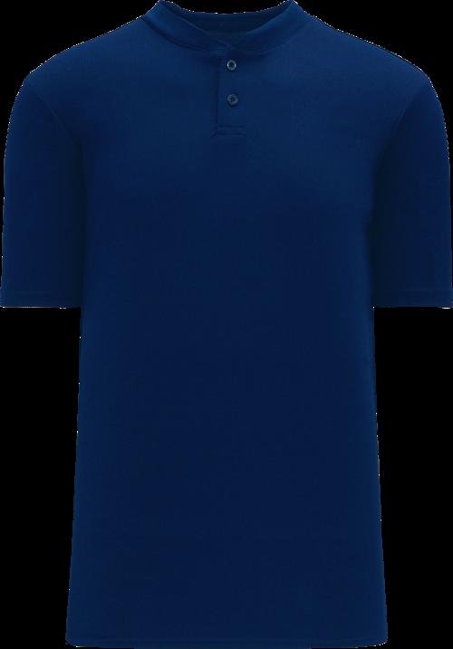 Basic Two Button Baseball Jersey - Navy