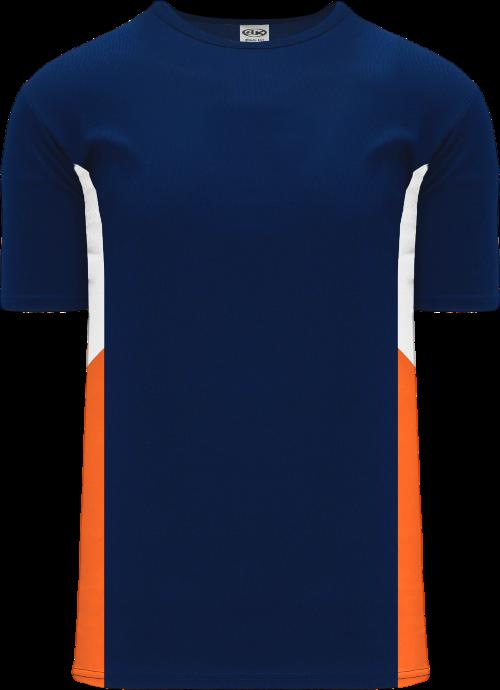Triple Pullover Baseball Jersey - Navy/White/Orange