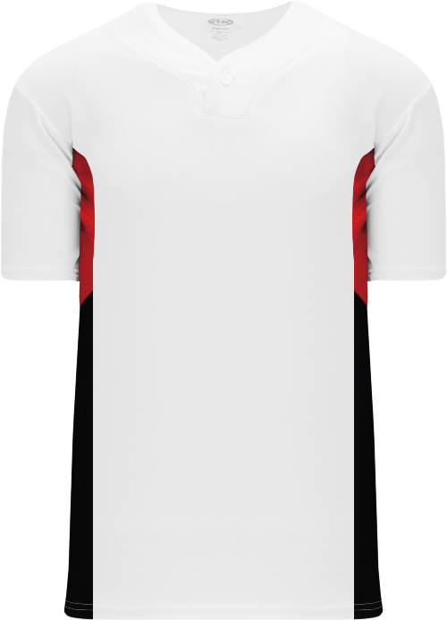 Triple One Button Baseball Jersey - White/Red/Black