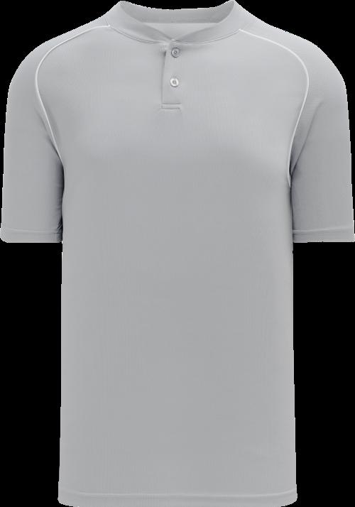 Shoulder Stripe Two Button Baseball Jersey - Gray