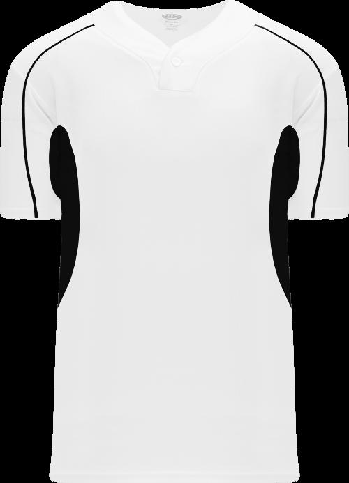 Strike Out One Button Baseball Jersey - Black/White