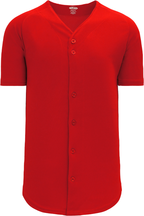 Full Button Proflex Baseball Jersey - Red