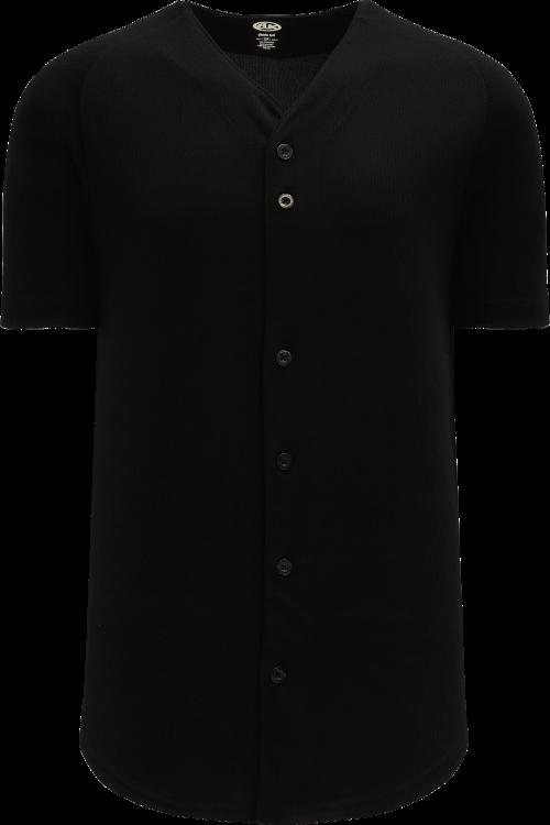 Full Button Proflex Baseball Jersey - Black