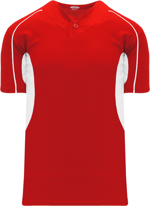 Strike Out One Button Baseball Jersey - Red/White