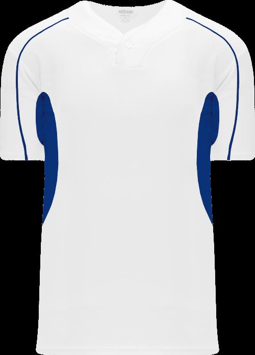 Strike Out One Button Baseball Jersey - White/Royal