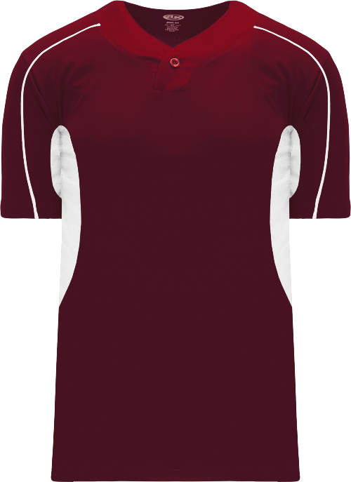 Strike Out One Button Baseball Jersey - Maroon/White