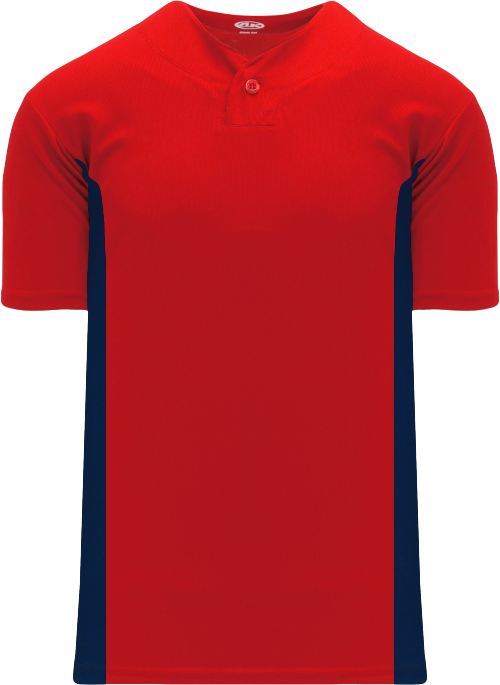 Home Run One Button Baseball Jersey - Red/Navy