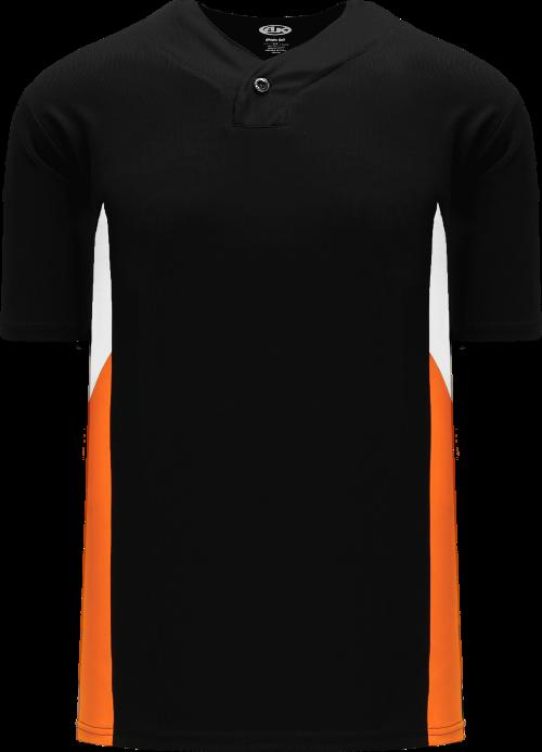 Triple One Button Baseball Jersey - Black/White/Orange