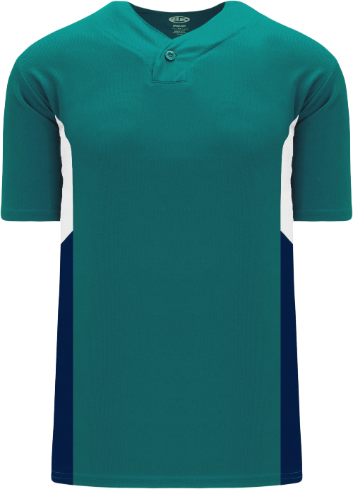 Triple One Button Baseball Jersey - Teal/White/Navy