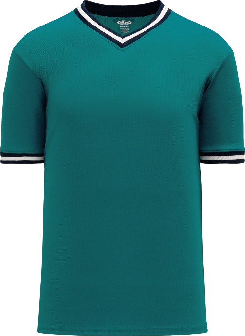 Trimmed Pullover Baseball Jersey - Teal/Navy/White