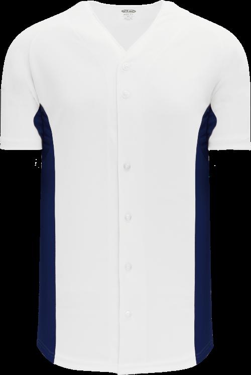 Full Button Color Blocked Baseball Jersey - White/Navy