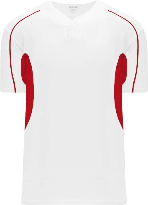 Strike Out One Button Baseball Jersey - White/Red