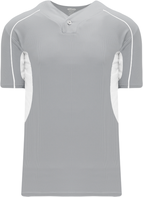 Strike Out One Button Baseball Jersey - Gray/White