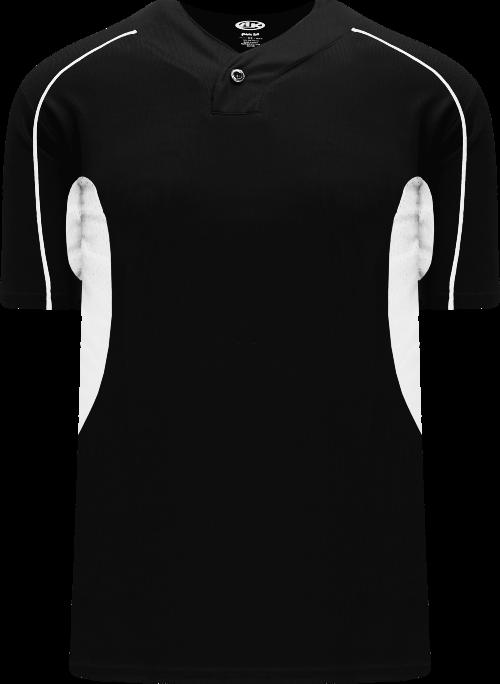 Strike Out One Button Baseball Jersey - White/Black