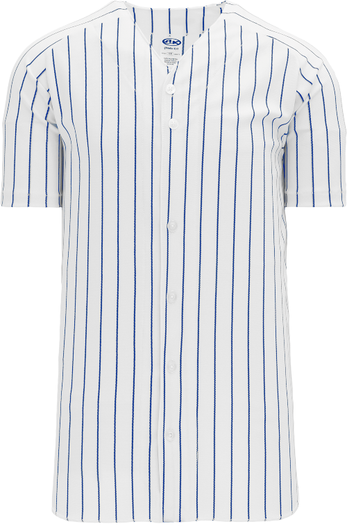 Full Button Pinstripe Baseball Jersey - White/Royal