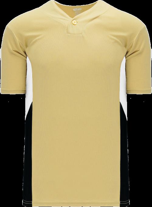 Triple One Button Baseball Jersey - Vegas Gold/White/Black