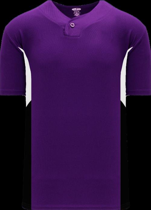 Triple One Button Baseball Jersey - Purple/White/Black