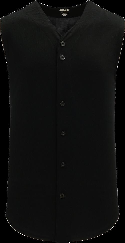 Full Button Vest Baseball Jersey - Black