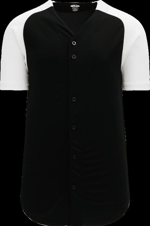 Full Button Raglan Sleeve Baseball Jersey - Black/White