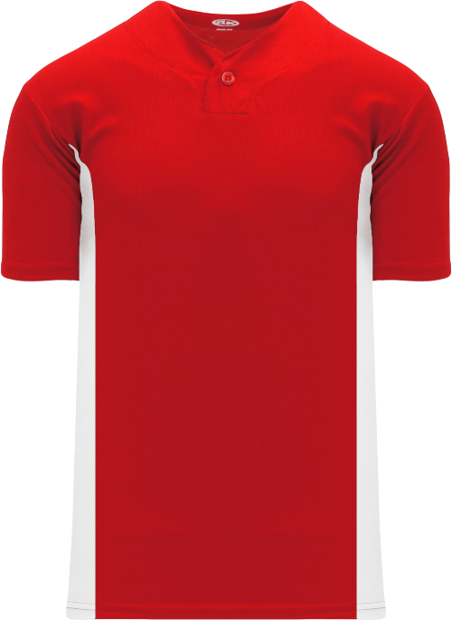 Home Run One Button Baseball Jersey - Red/White