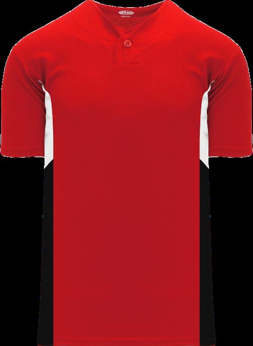 Triple One Button Baseball Jersey - Red/White/Black