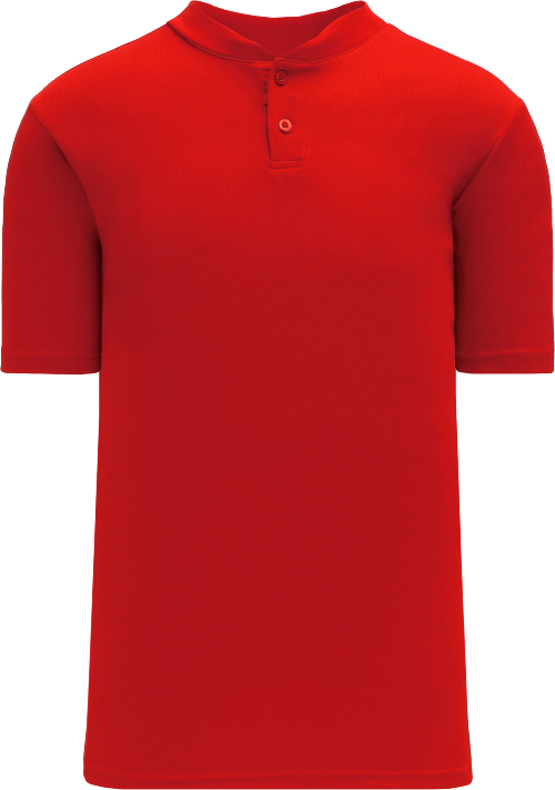 Basic Two Button Baseball Jersey - Red