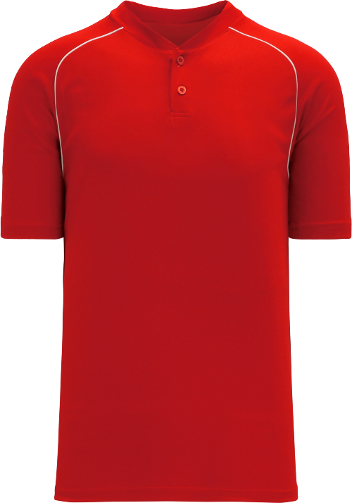 Shoulder Stripe Two Button Baseball Jersey - Red
